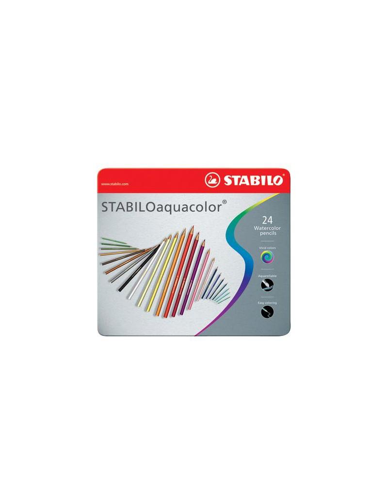 Matite Colorate AQUAcolor Stabilo - Confezione in Metallo - 2,8 mm (Assortiti Conf. 24)