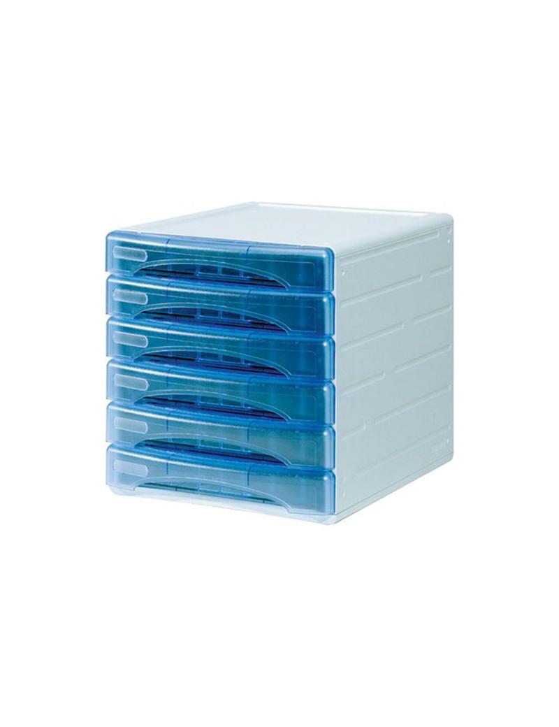 Cassettiera Olivia Arda - 31x40x32,5 cm - 6 Cassetti Piccoli - TR13G6PBL (Azzurro Trasparente)