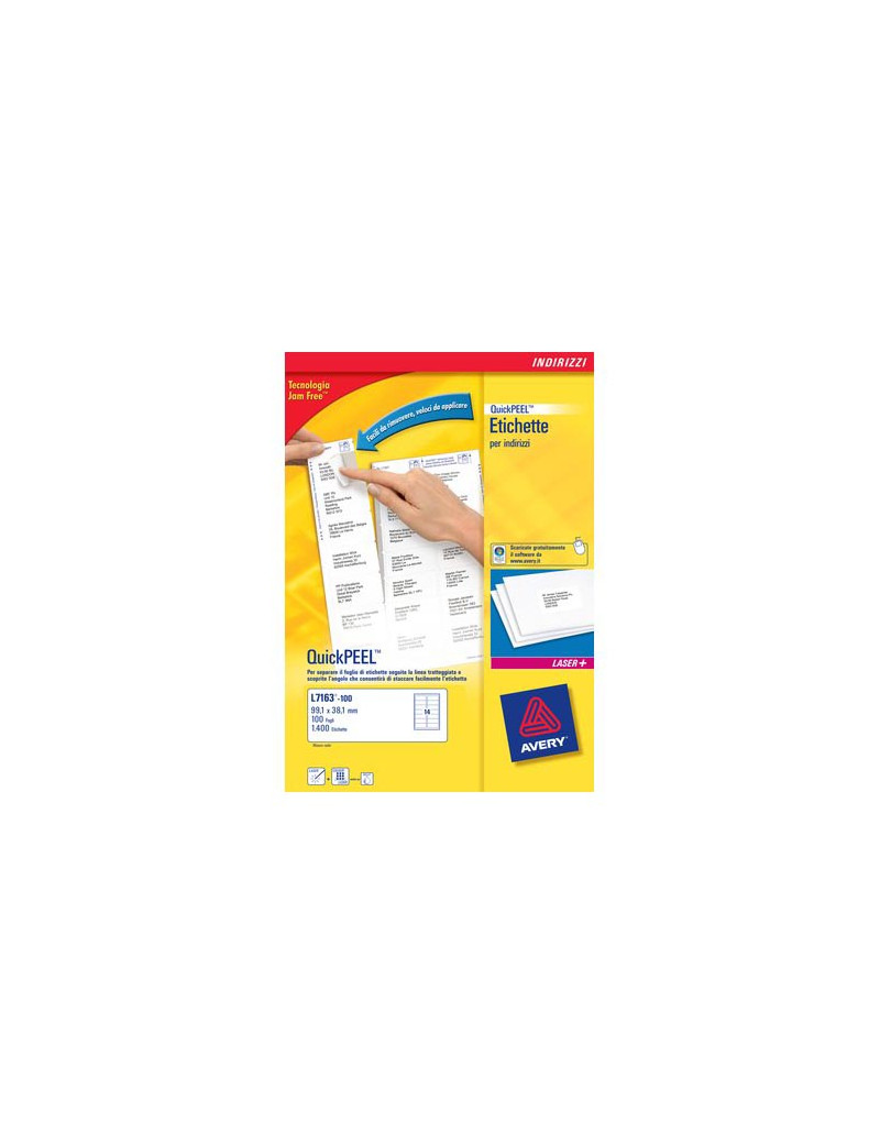 Etichette Adesive BlockOut Pacchi Avery - 199,6x143,5 mm - L7168-100 (Bianco Conf. 100)